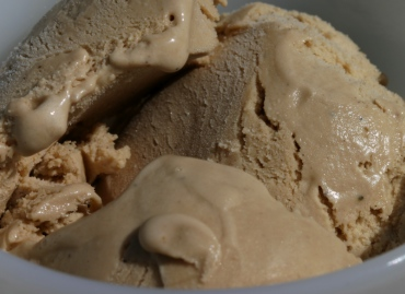 coffee ice cream, barely melting in sunlight