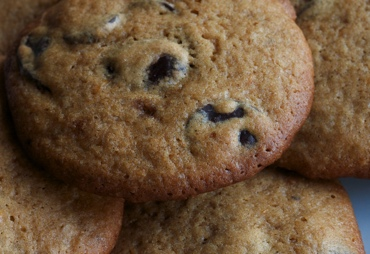 orange chocolate chip cookies, up close