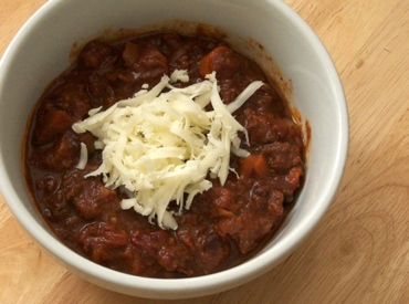 Chili made with chicken and chocolate