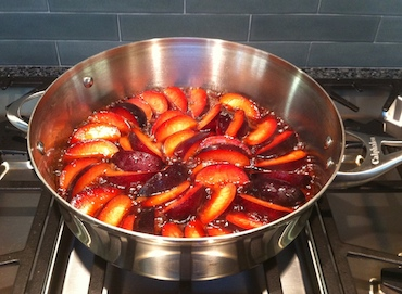plums cooked on stovetop