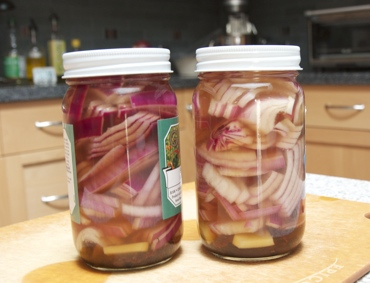 Red onion pickle, recently jarred.