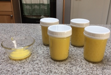 Vanilla lime curd in jars, and a bit extra