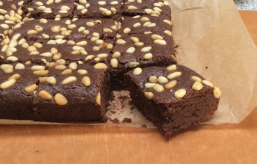 Mexican chocolate brownies with pine nuts