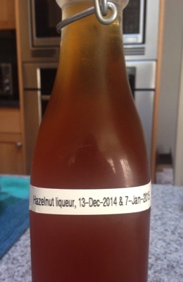 Hazelnut liqueur, filtered & bottled