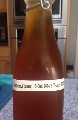 Hazelnut liqueur, filtered & bottled