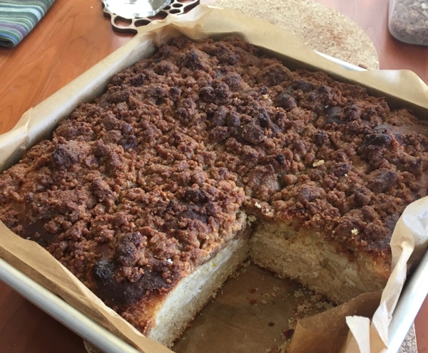 Coffee cake, sliced to show cheese filling