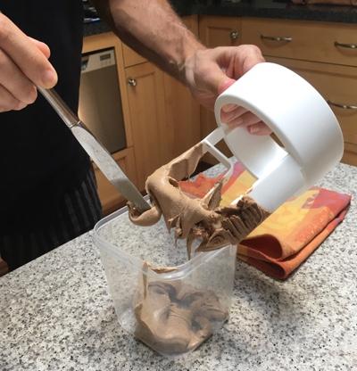 Mexican choco coffee cajeta ice cream, out of the machine